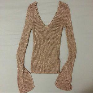 Topshop Crochet Rose Gold Top